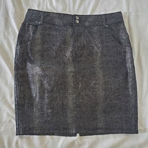 Lane Bryant black denim glittery pencil skirt